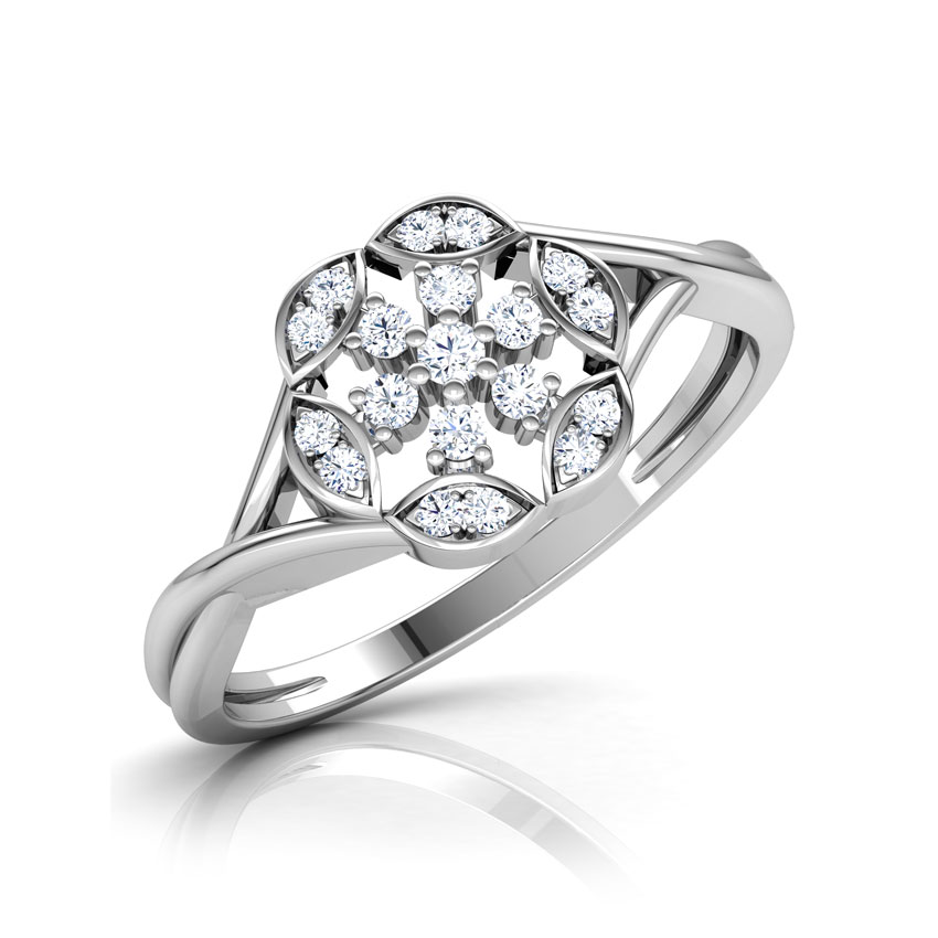 Diamond Rings 18 Karat White Gold Starlight Diamond Ring