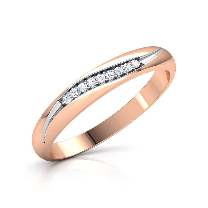 Diamond Rings 18 Karat Rose Gold Linear Wave Diamond Ring