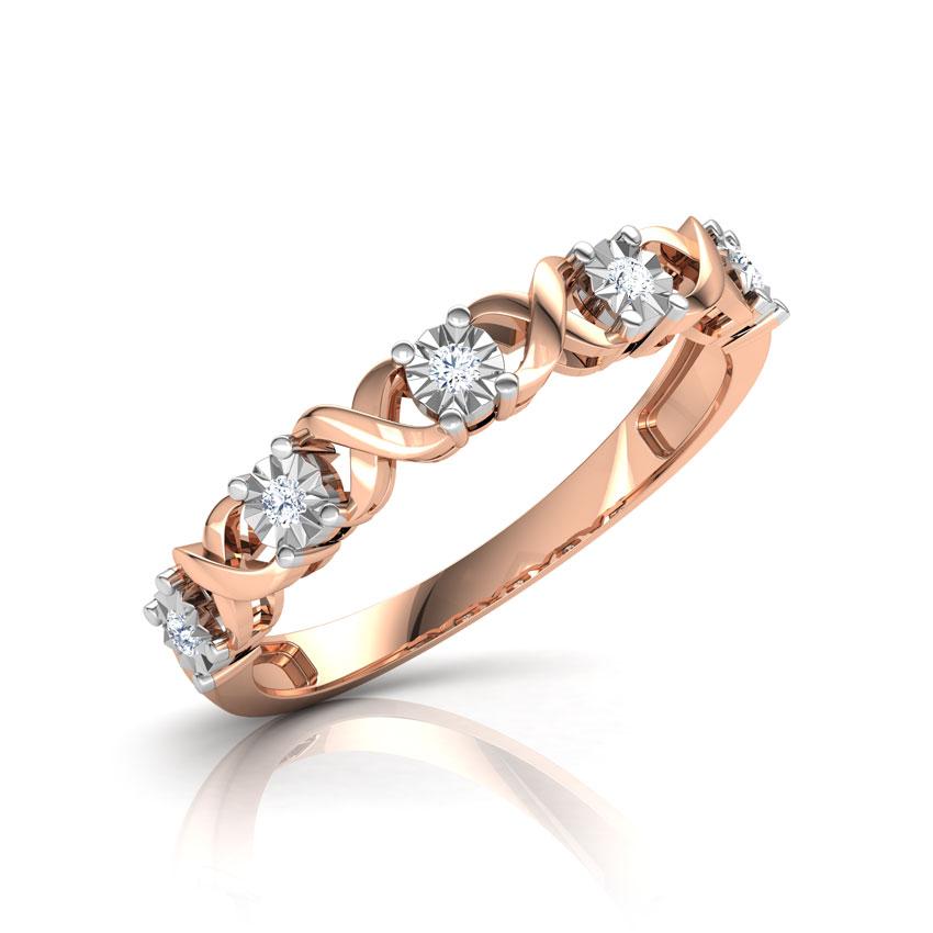Diamond Rings 14 Karat Rose Gold XO Miracle Plate Diamond Ring