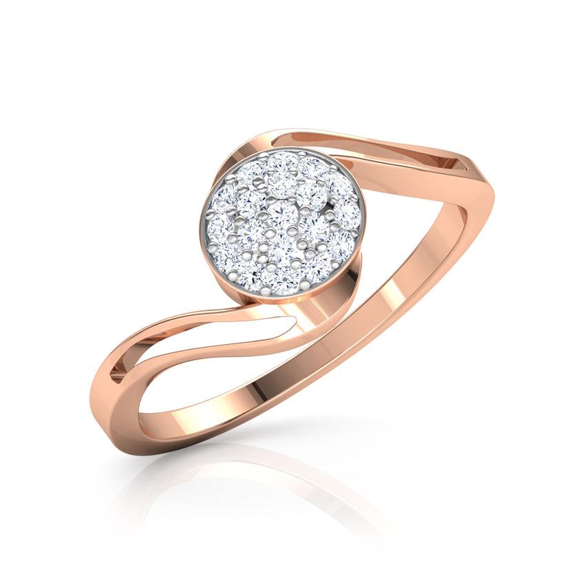 Diamond Rings 14 Karat Rose Gold Clustered Orb Diamond Ring