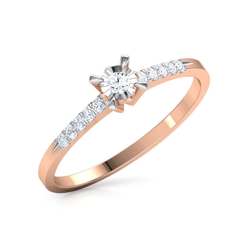 Diamond Rings 14 Karat Rose Gold Solo Miracle Plate Diamond Ring