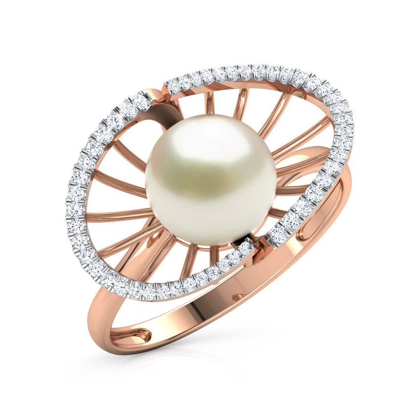 Diamond,Gemstone Rings 18 Karat Rose Gold Divine Pearl Diamond Ring