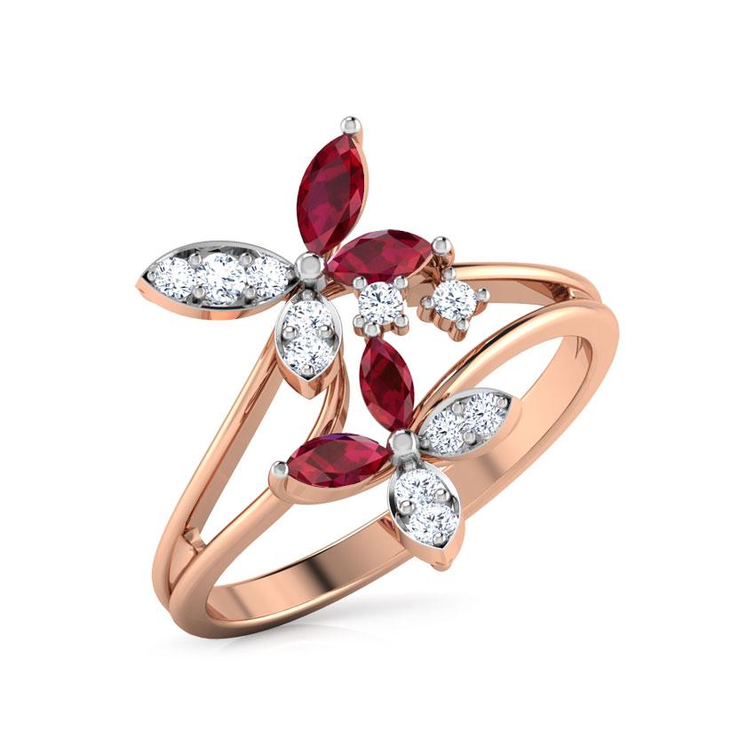 Diamond,Gemstone Rings 14 Karat Rose Gold Duo Flower Diamond Ring