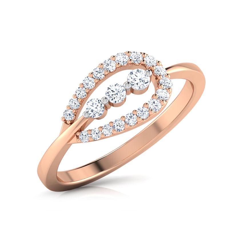Diamond Rings 18 Karat Rose Gold Pear Drop Diamond Ring