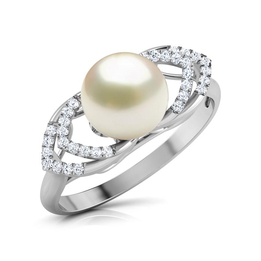 Diamond Rings 14 Karat White Gold Gracious Pearl Diamond Ring