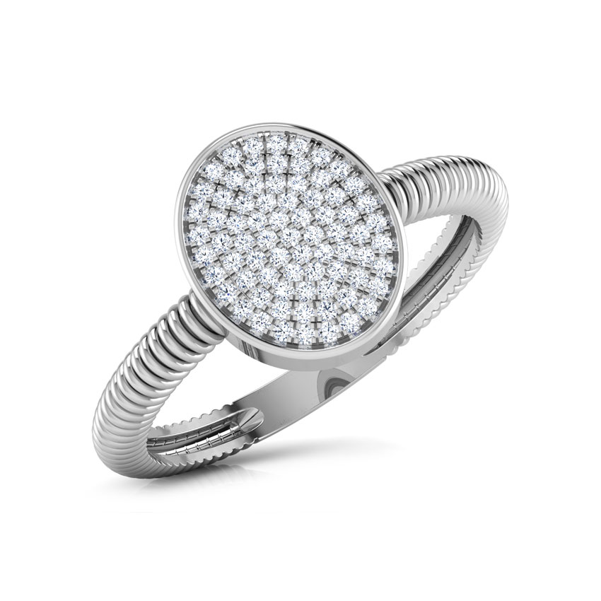 Diamond Rings 18 Karat White Gold Ovate Cluster Diamond Ring