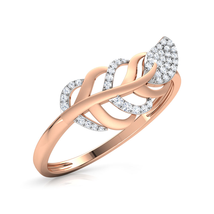 Diamond Rings 14 Karat Rose Gold Wispy Leaf Diamond Ring