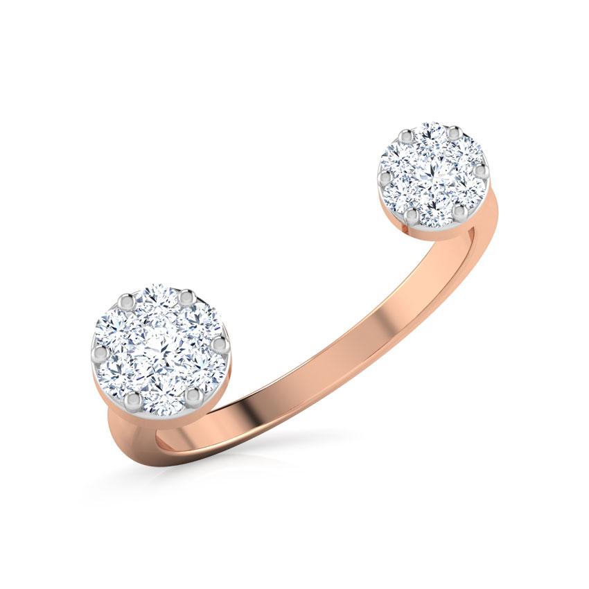 Diamond Rings 18 Karat Rose Gold Duo Cluster Open Diamond Ring