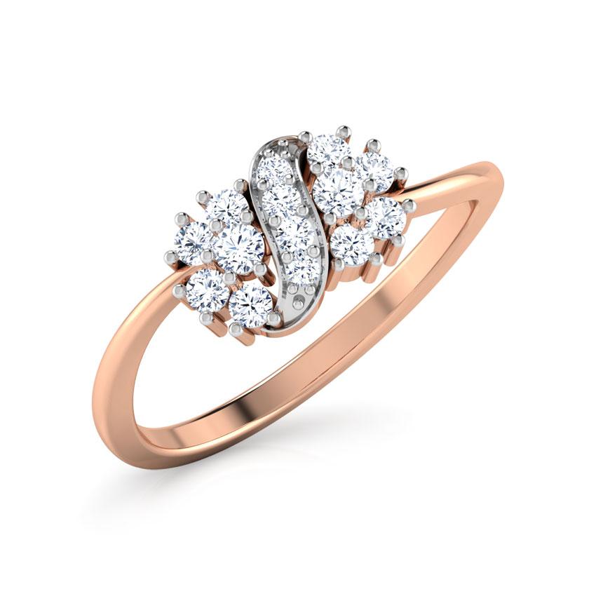 Diamond Rings 18 Karat Rose Gold Cluster Ribbion Diamond Ring