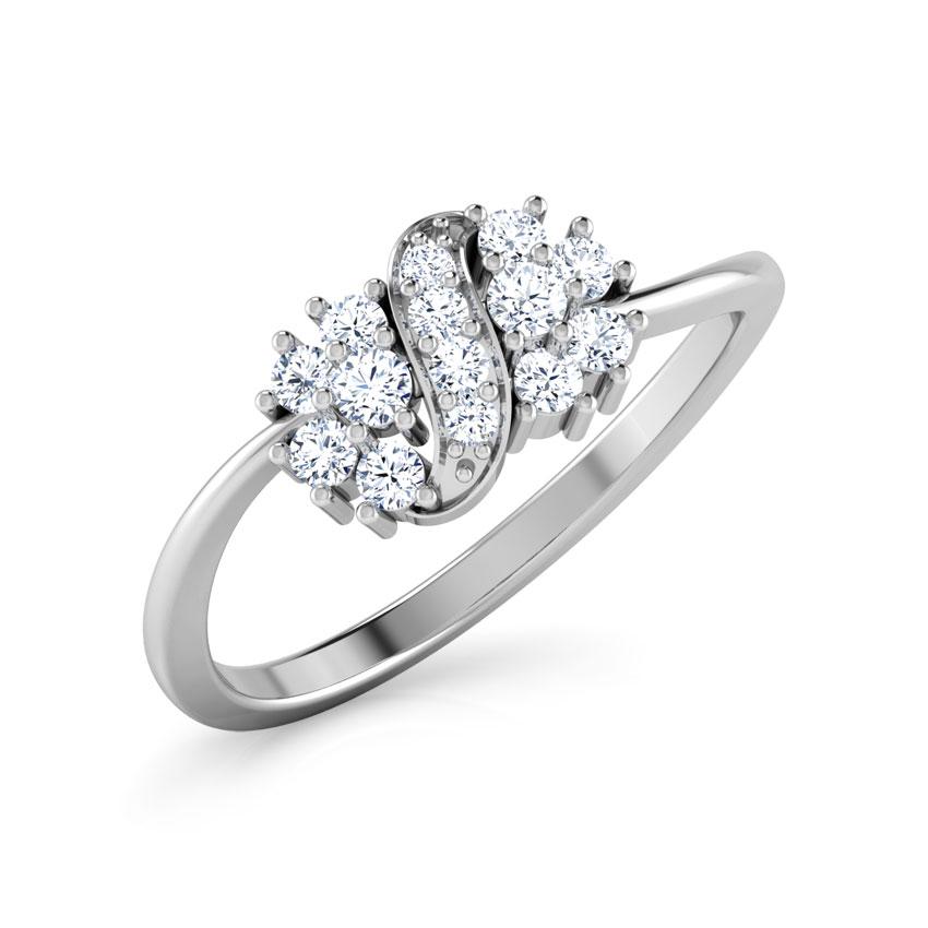 Diamond Rings 18 Karat White Gold Cluster Ribbion Diamond Ring