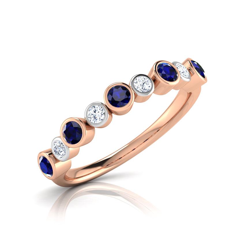 Diamond,Gemstone Rings 18 Karat Rose Gold Alternate Loop Diamond Ring