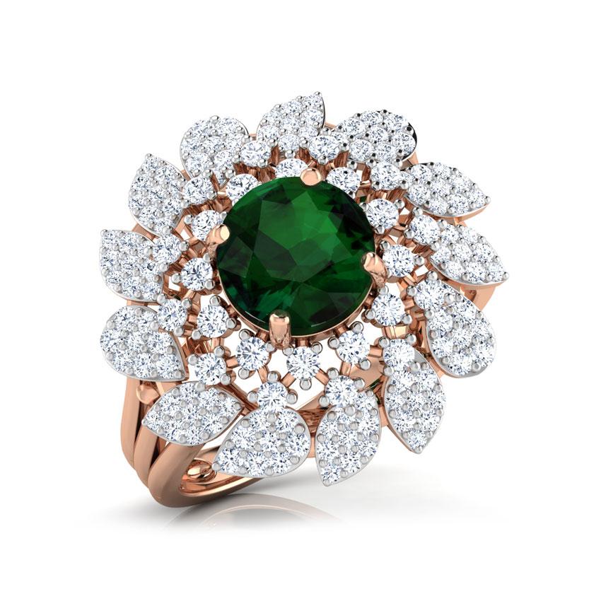 Diamond,Gemstone Rings 18 Karat Rose Gold Charming Frond Diamond Ring