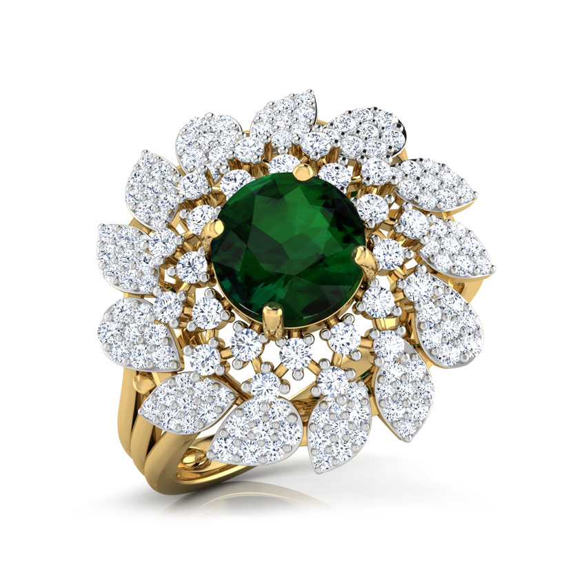 Diamond,Gemstone Rings 18 Karat Yellow Gold Charming Frond Diamond Ring