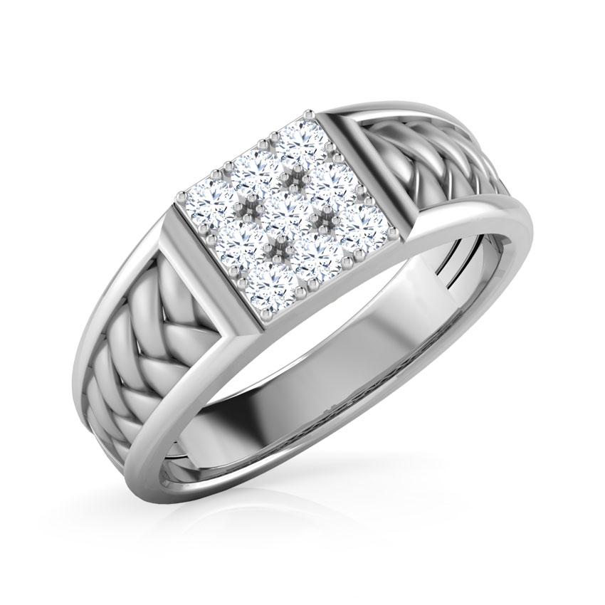 Diamond Rings 18 Karat White Gold Terry Diamond Ring For Men