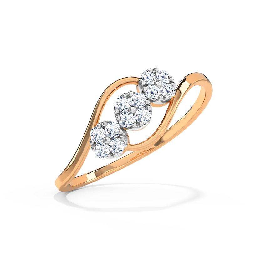 Diamond Rings 18 Karat Rose Gold Trio Cluster Diamond Ring
