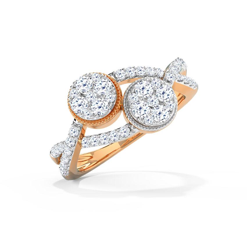 Diamond Rings 18 Karat Rose Gold Twine Clump Diamond Ring