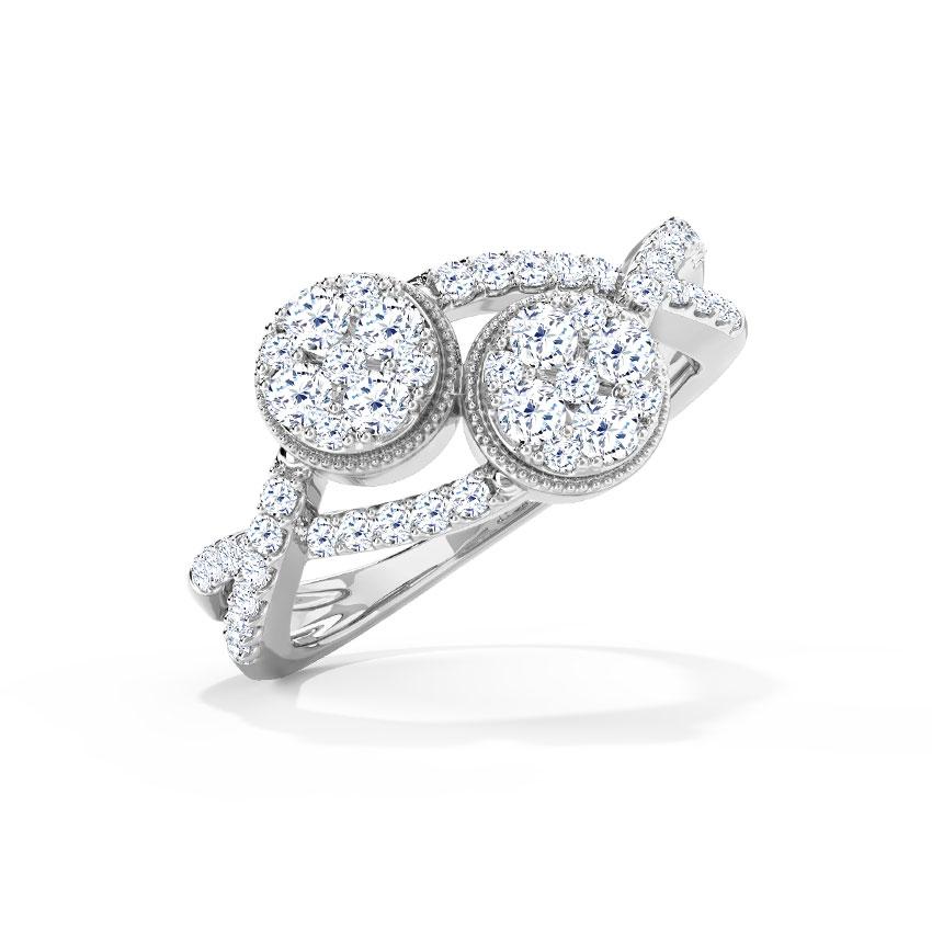 Diamond Rings 18 Karat White Gold Twine Clump Diamond Ring