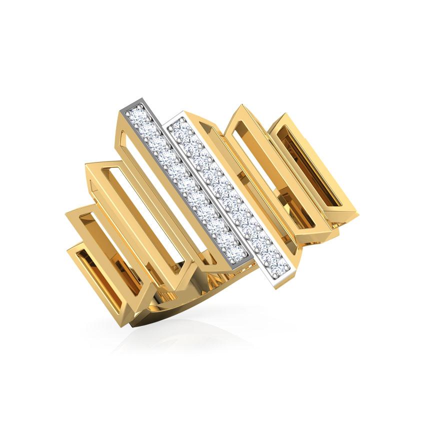 Diamond Rings 18 Karat Yellow Gold Eros Graduating Zigzag Diamond Ring