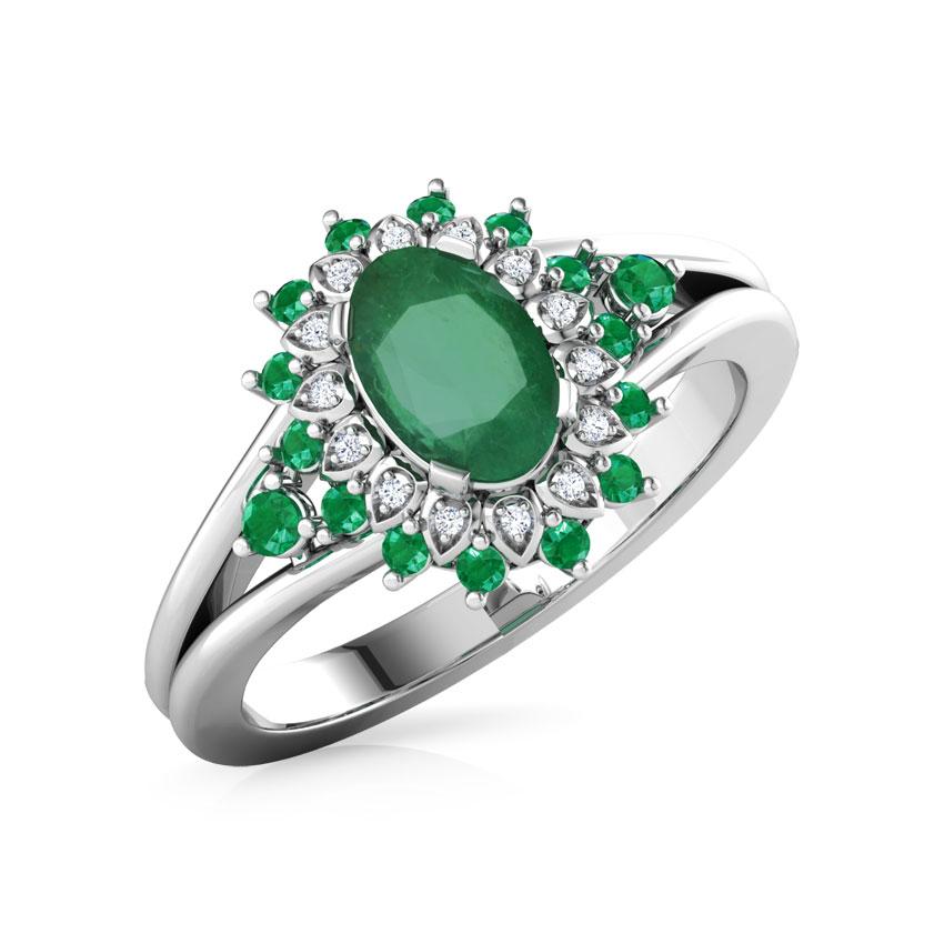 Diamond,Gemstone Rings 18 Karat White Gold Aalifa Diamond Ring