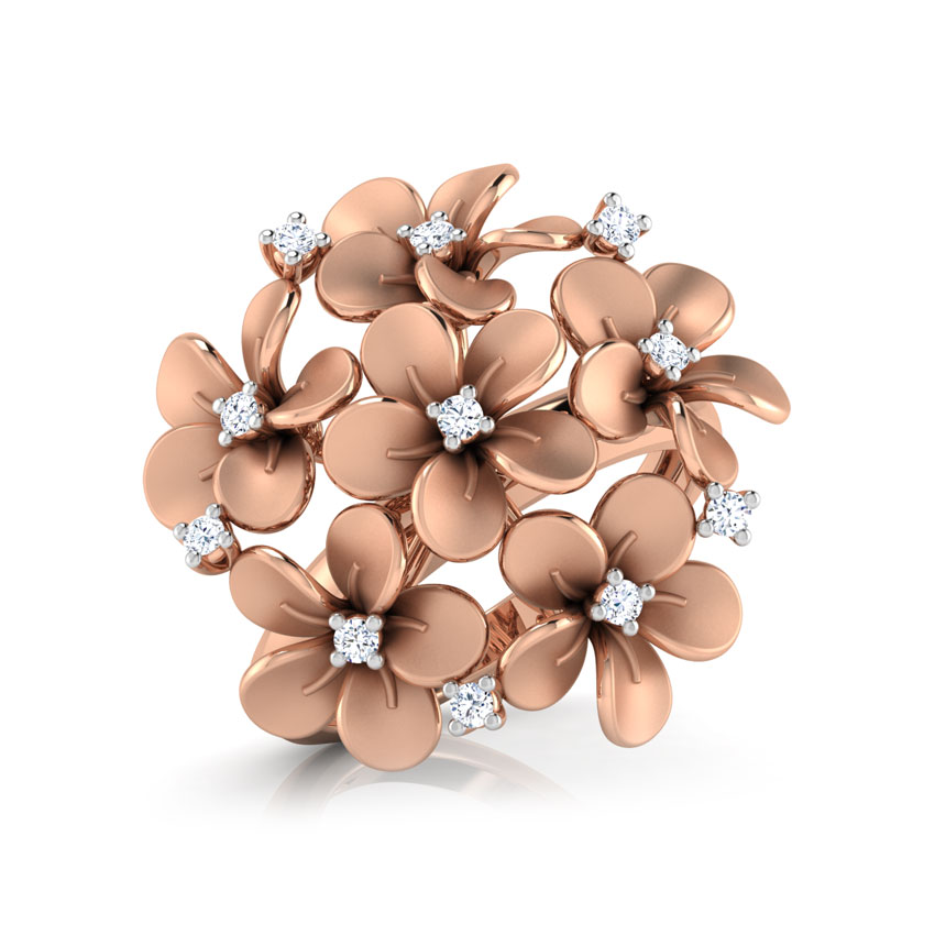Diamond Rings 18 Karat Rose Gold Plumeria Cluster Diamond Ring