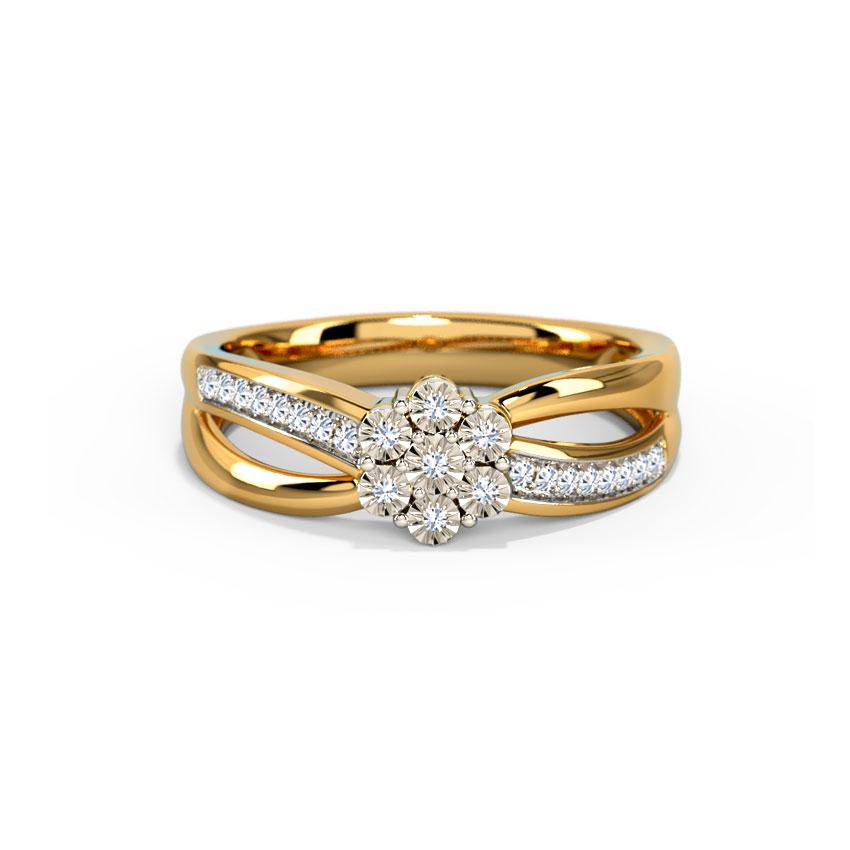 Diamond Rings 18 Karat Yellow Gold Cluster Miracle Plate Ring