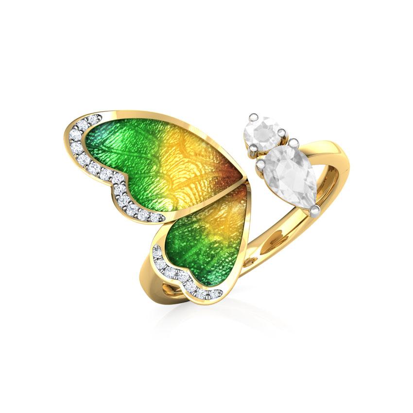Diamond,Gemstone Rings 18 Karat Yellow Gold One Wing Green Butterfly Diamond Ring