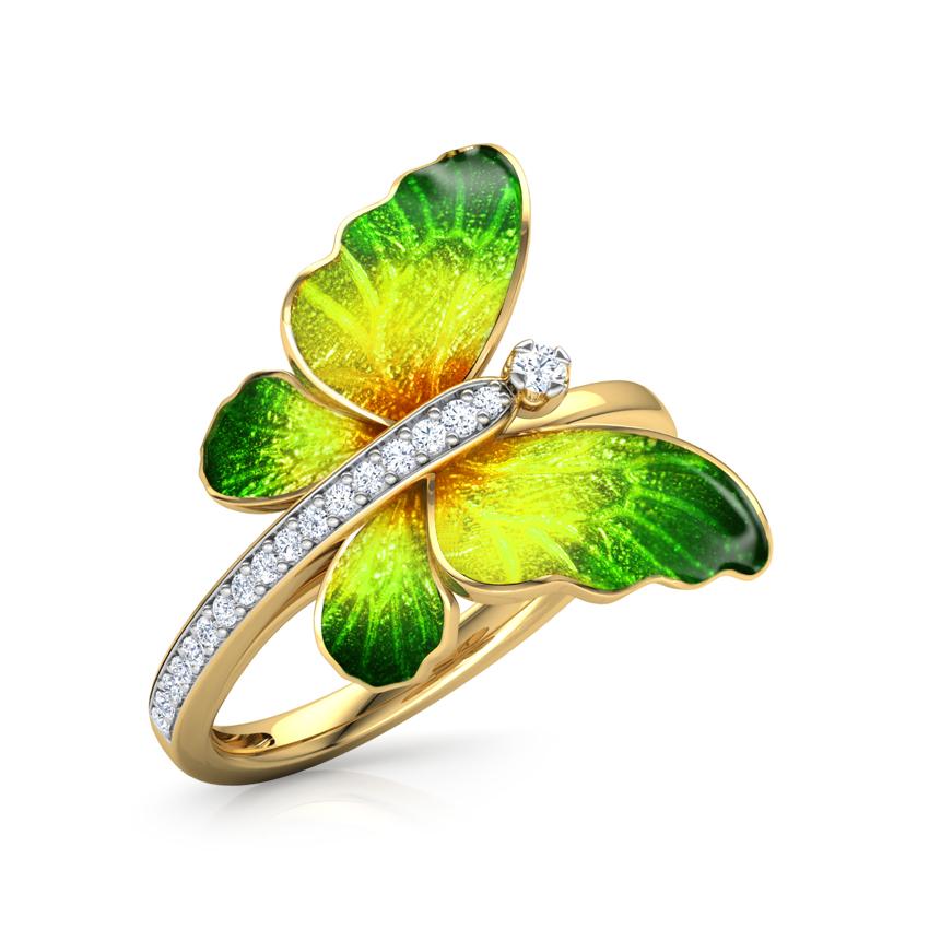 Diamond Rings 18 Karat Yellow Gold Flare Green Butterfly Diamond Ring