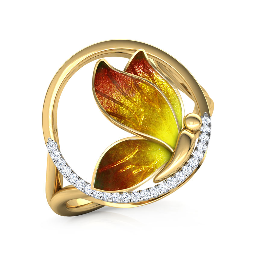 Encircle Orange Butterfly Ring