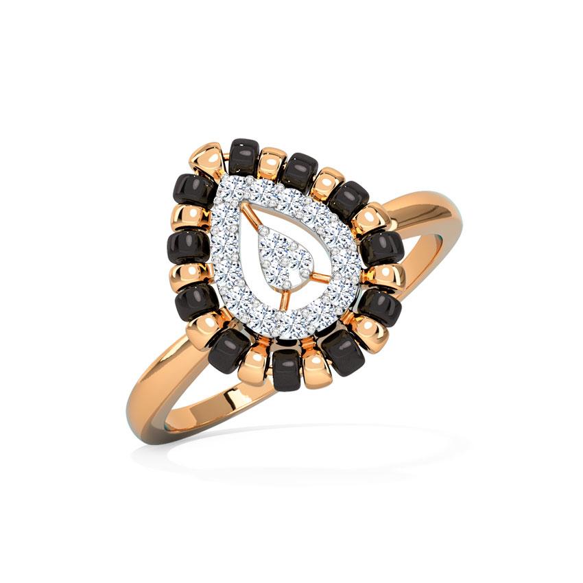 Diamond Rings 14 Karat Rose Gold Payal Mangalsutra Diamond Ring