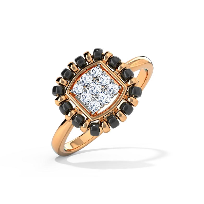 Diamond Rings 18 Karat Rose Gold Yashvi Mangalsutra Diamond Ring
