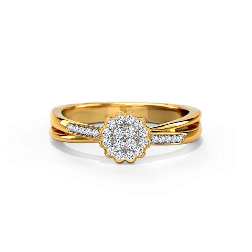 Diamond Rings 14 Karat Rose Gold Twine Floret Diamond Ring