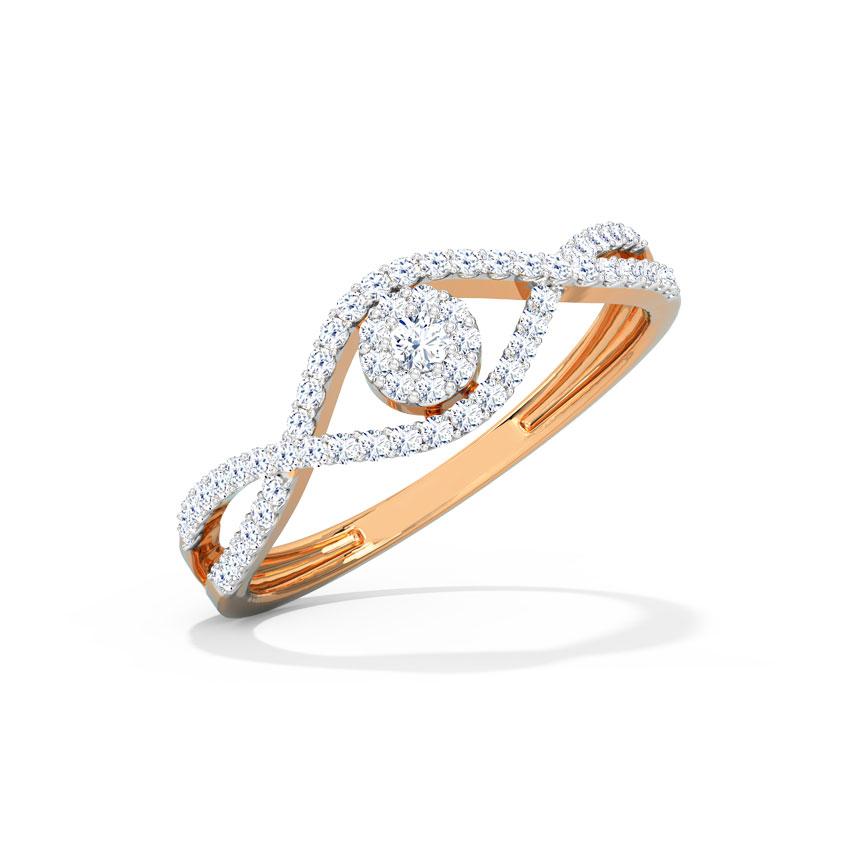 Diamond Rings 18 Karat Rose Gold Twine Cluster Diamond Ring