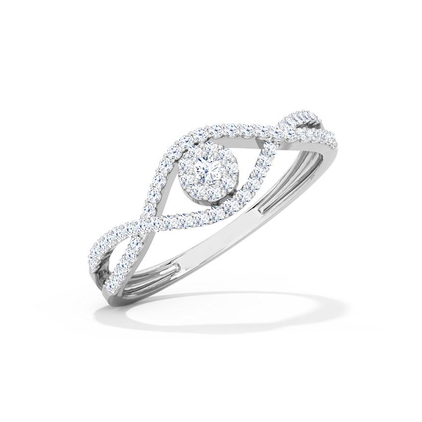 Diamond Rings 18 Karat White Gold Twine Cluster Diamond Ring