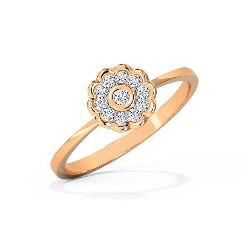 Diamond Rings 14 Karat Rose Gold Floweret Diamond Ring