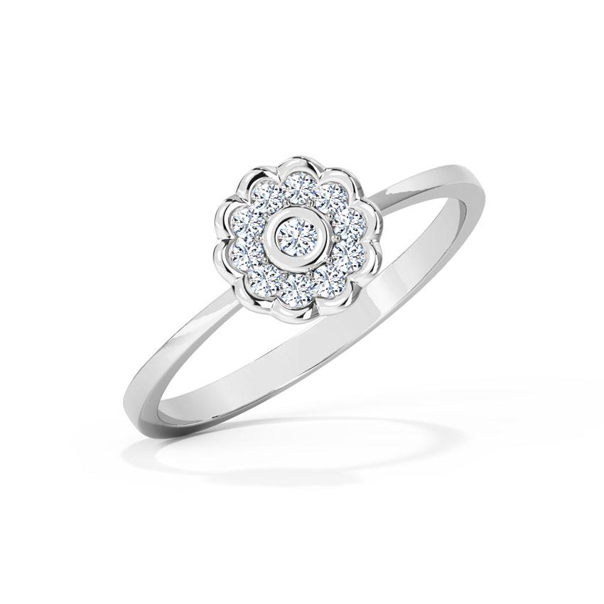 Diamond Rings 18 Karat White Gold Floweret Diamond Ring