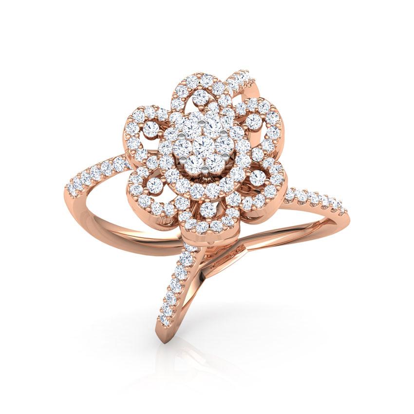 Diamond Rings 18 Karat Rose Gold Blossom Wide Diamond Ring