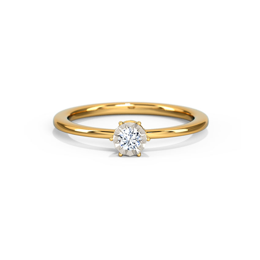 Diamond Rings 18 Karat Yellow Gold Glitter Miracle Plate Diamond Ring