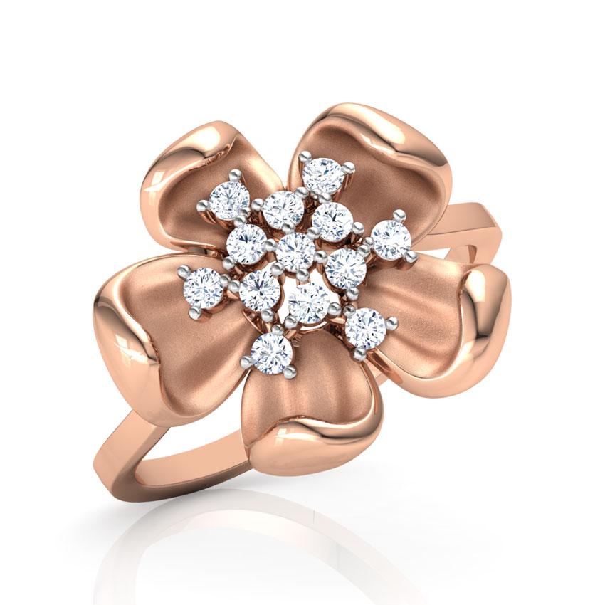 Diamond Rings 18 Karat Yellow Gold Periwinkle Floret Diamond Ring