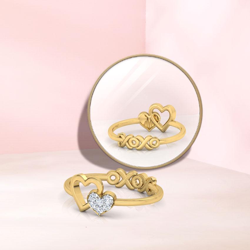 Diamond Rings 14 Karat Yellow Gold XOXO Love Diamond Ring
