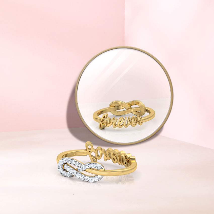 Diamond Rings 14 Karat Yellow Gold Forever Infinity Diamond Ring