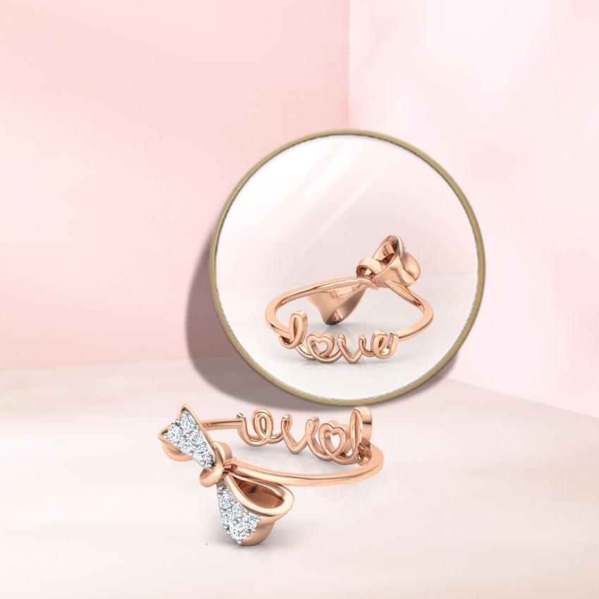 Diamond Rings 14 Karat Rose Gold Bow Love Diamond Ring