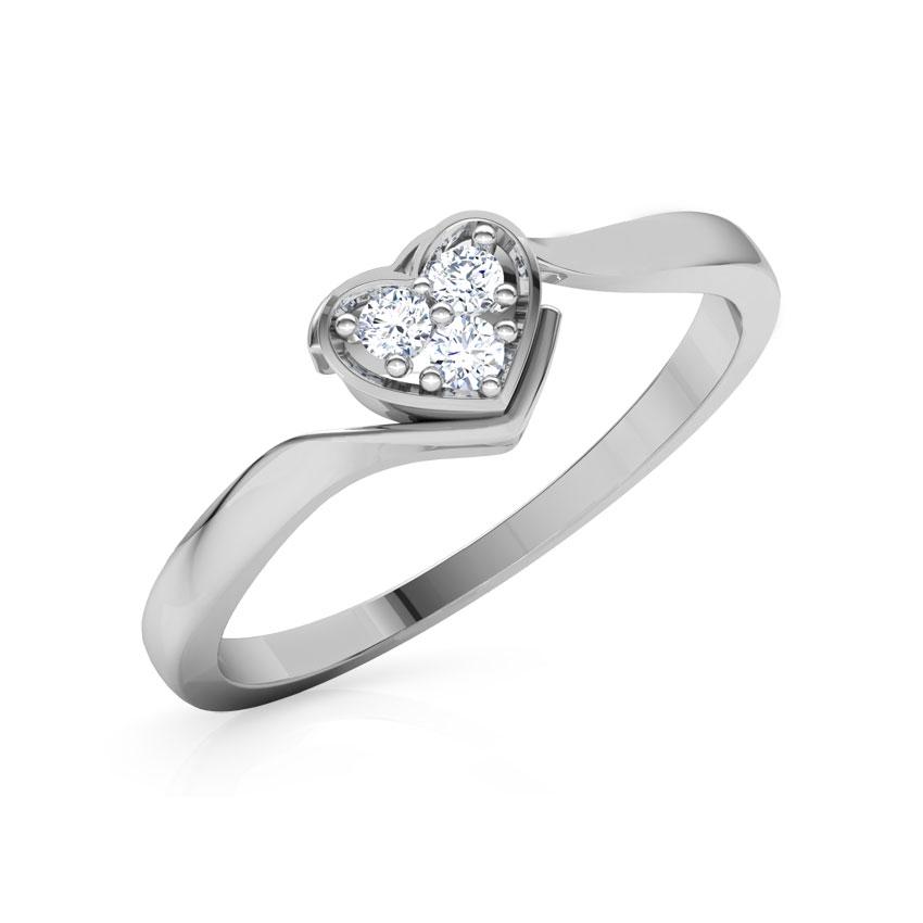 Diamond Rings 18 Karat White Gold Sparkling Heart Promise Diamond Ring