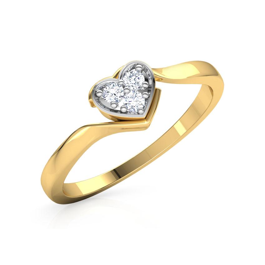 Diamond Rings 18 Karat Yellow Gold Sparkling Heart Promise Diamond Ring