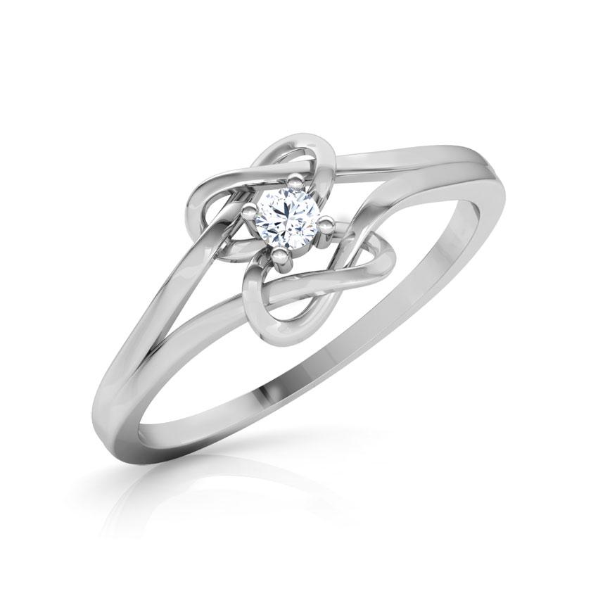 Diamond Rings 14 Karat White Gold Shining Knot Promise Diamond Ring