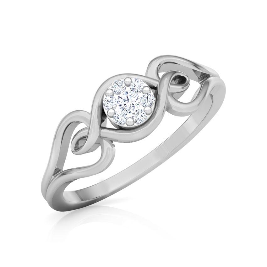 Diamond Rings 18 Karat White Gold Shimmering Cluster Promise Diamond Ring