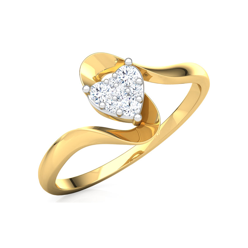 Diamond Rings 18 Karat Yellow Gold Alluring Heart Promise Diamond Ring