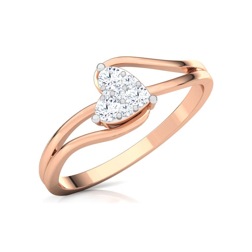 Diamond Rings 18 Karat Rose Gold Glittering Heart Promise Diamond Ring