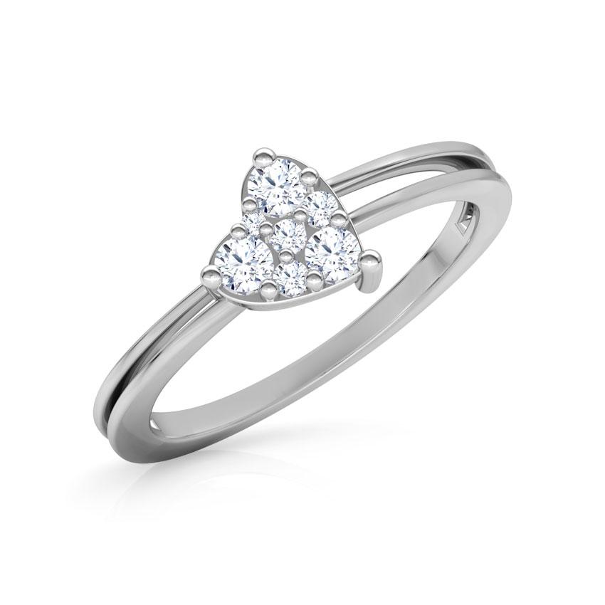 Diamond Rings 18 Karat White Gold Dazzling Heart Promise Diamond Ring