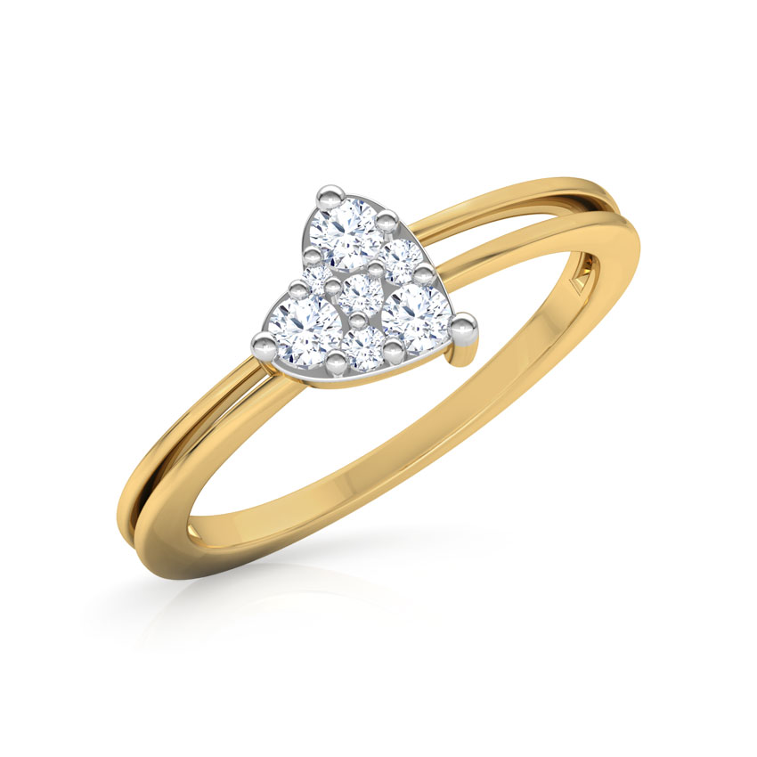 Diamond Rings 18 Karat Yellow Gold Dazzling Heart Promise Diamond Ring