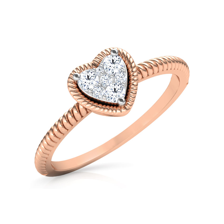 Diamond Rings 18 Karat Rose Gold Charming Heart Promise Diamond Ring
